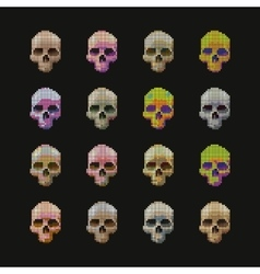 Skulls pixel multicolored vector image