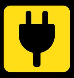 Yellow black sign - electrical plug symbol icon vector