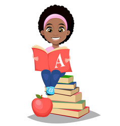back to school cute afro-american girl holding vector image vector image