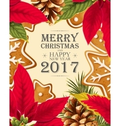 Christmas card with poincettia vector image