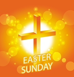 easter sunday card with cross symbol 1 vector image vector image