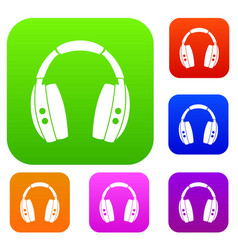 headphones set color collection vector image vector image