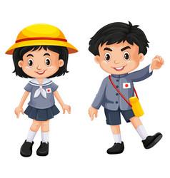 japanese boy and girl in school uniform vector image vector image