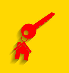 key with keychain as an house sign red vector image