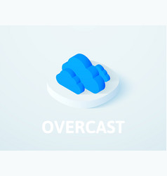 Overcast isometric icon isolated on color vector