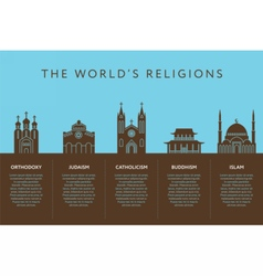 Temples of world different religions Infographics vector image vector image