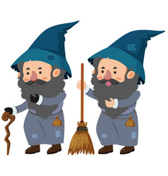 two wizards with cane and magic broom vector image vector image
