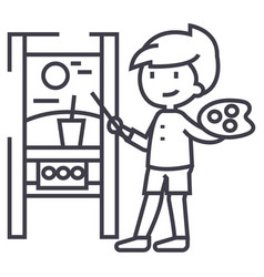 boy drawing picturemolbert line icon sign vector image