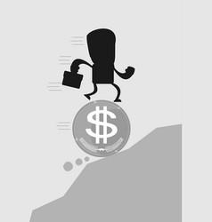 Business man running on a coin vector