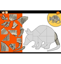 cartoon armadillo jigsaw puzzle game vector image