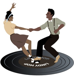 Dancing on a record vector image vector image