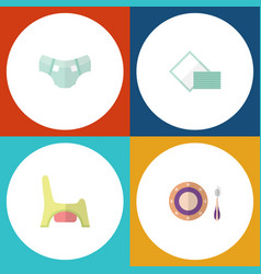 flat infant set of toilet napkin nappy and other vector image vector image