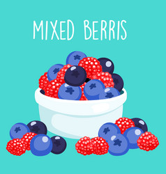 fresh mixed berries sprout in white bowl vector image