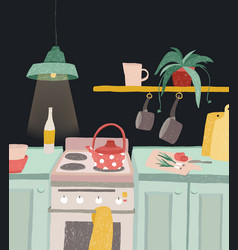 hand drawn home cooking in cartoon style colorful vector image vector image