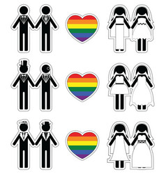 Lesbian brides and gay grooms icon 4 set vector image vector image