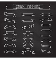 set of chalk ribbons vector image