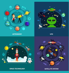 space exploration concept icons set vector image vector image