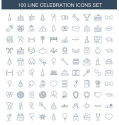100 celebration icons vector