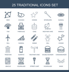 25 traditional icons vector image