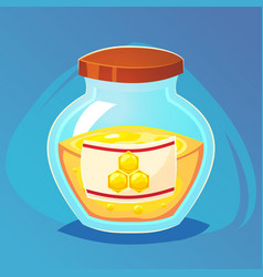 a glass pot full of honey sweet food game icon vector image