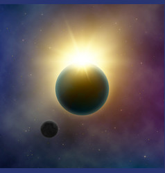 abstract milky way galaxy solar eclipse sun shine vector image