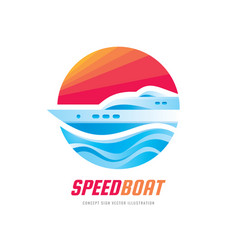 abstract speed boat and blue sea waves vector image