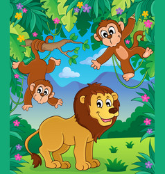 Animals in jungle topic image 3 vector