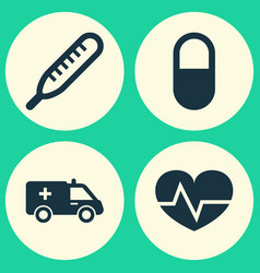 Antibiotic icons set collection of first-aid vector