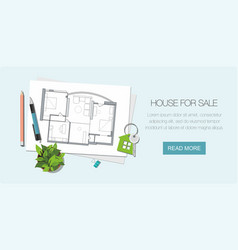 Architect house plan and key vector