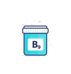 B9 vitamin icon on white vector
