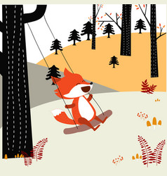 Baby fox play wing in the spring forest vector