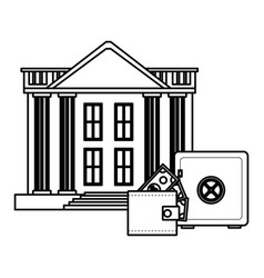 bank buildings with wallet and strongbox black and vector image