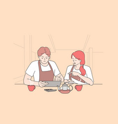 bankrupt and calculating restaurant expenses vector image