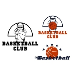 Basketball emblems with game items vector image