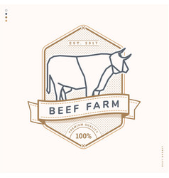 Beef farm linear logo vector