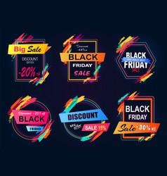 Big sale black friday stickers vector
