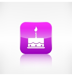 Birthday cake web icon Application button vector