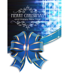 Blue Christmas background with bow vector image