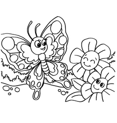 Butterfly coloring pages vector