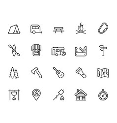 Camping icon set in thin line style vector