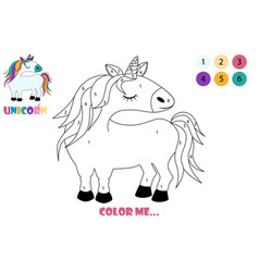 cartoon coloring page unicorn cute drawing horse vector image