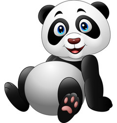 cartoon funny panda sitting on white background vector image