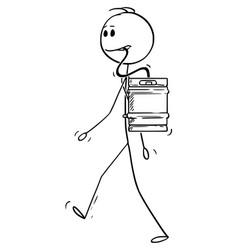 Cartoon man walking with beer keg or barrel on vector