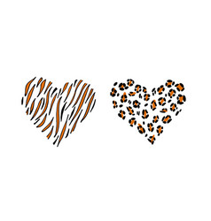 Cheetah and tiger print skin in the shape of a vector