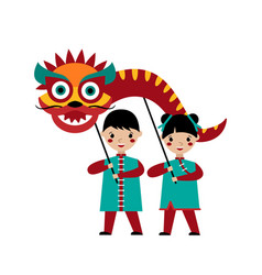 Chinese folk dragon dance vector
