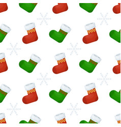 christmas stocking seamless pattern winter sock vector image