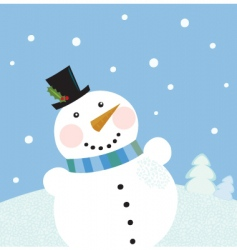 Christmas winter snowman background vector image