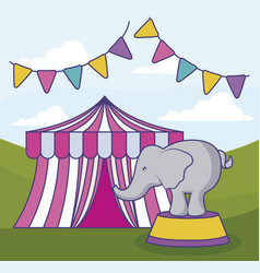 Circus tent with elephant and garlands vector
