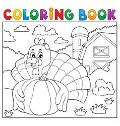 coloring book turkey bird and pumpkin 2 vector image