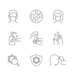 coronavirus safety linear icons on white vector image